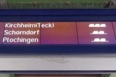 Voranzeige von 3 künftigen Zügen. Die S2 fährt dabei mit 1 Wagen weniger
