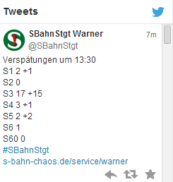 Beispiel-Tweet des S-Bahn-Warners