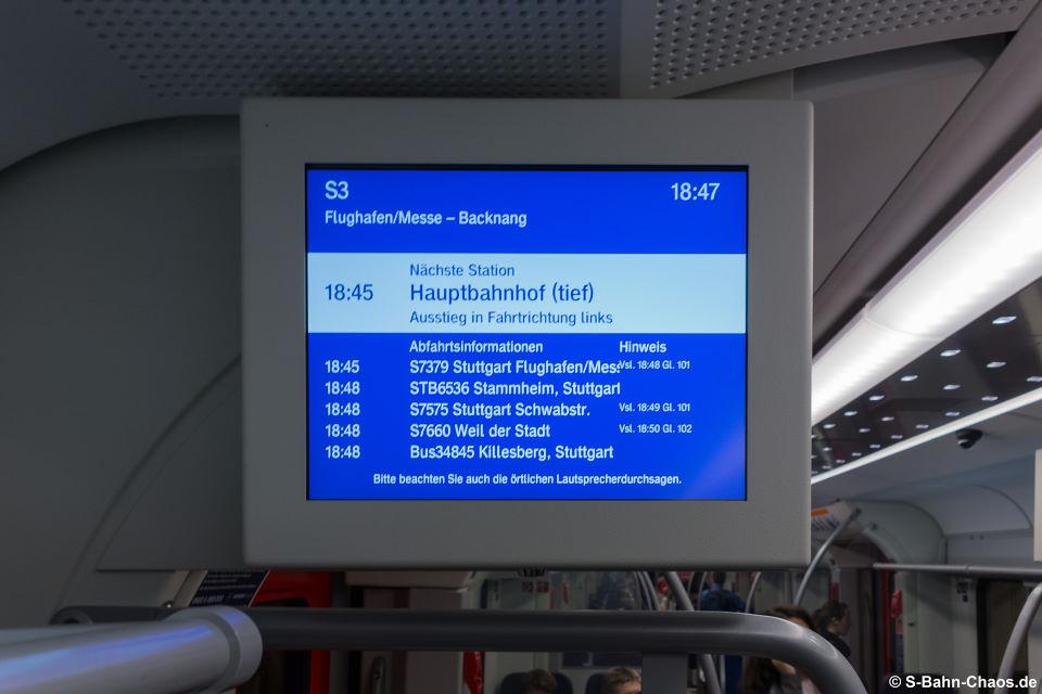 Verbesserungswürdiges Informationssystem in den Zügen der BR 430