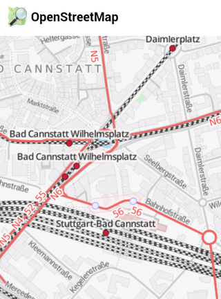 Open Street Map der Stationsumgebung Bad Cannstatt