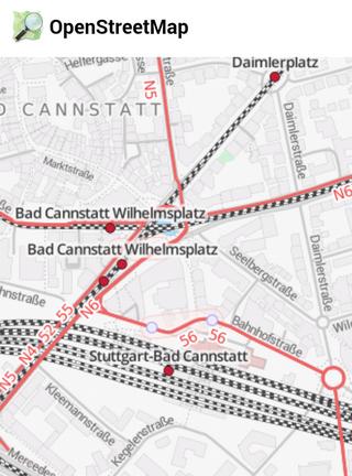 Open Street Map der Stationsumgebung Bad Cannstatt