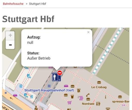 DB Aufzüge Stuttgart Hbf