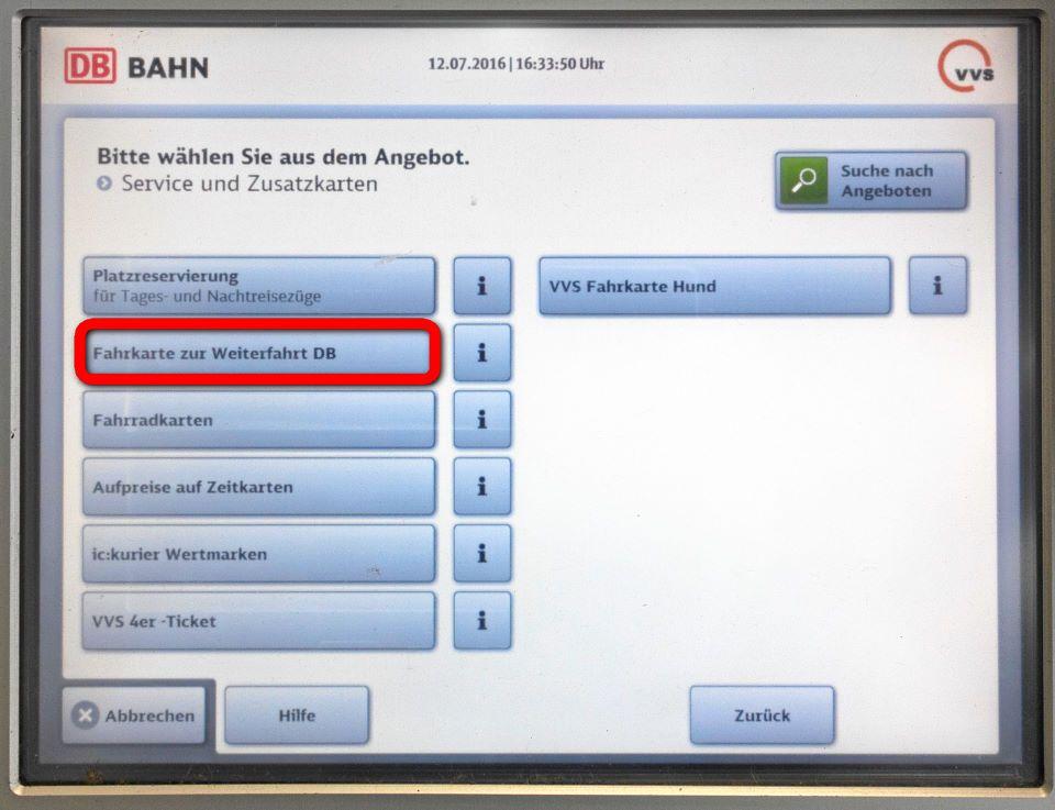 3. Schritt, Fahrkarte zur Weiterfahrt DB