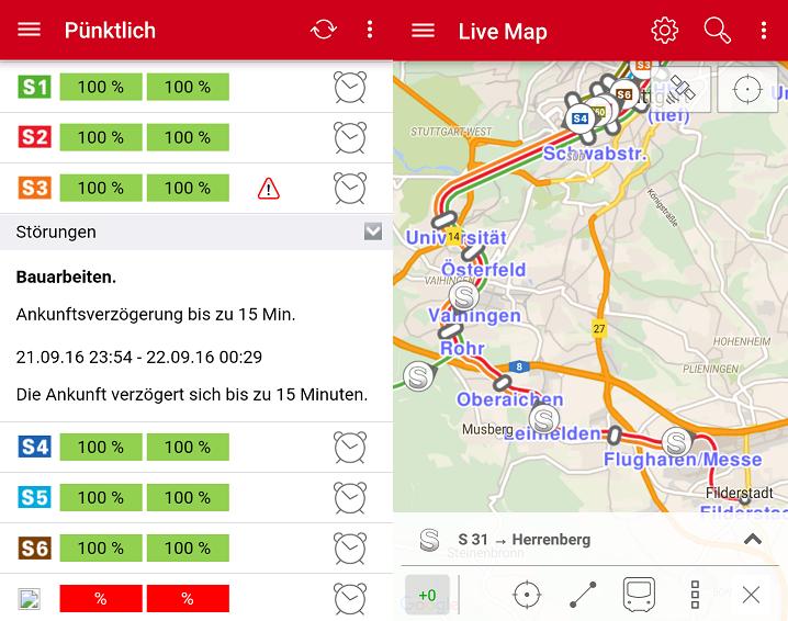 Aktuelle Version der Navi S-Bahn Stuttgart App