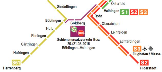Streckensperrung Vaihingen - Böblingen mit Ersatzbussen