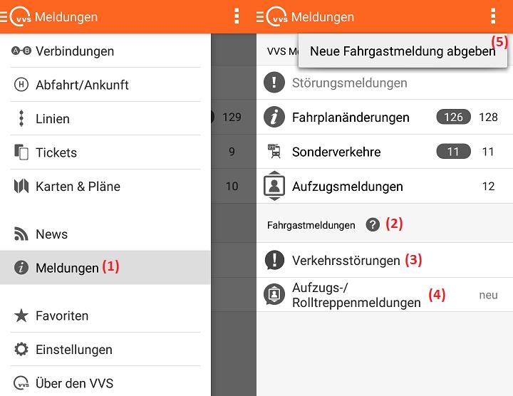 Fahrgastmeldungen in der VVS Mobil App