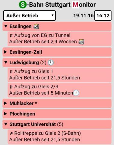 Status von Aufzügen und Rolltreppen an S-Bahnstationen