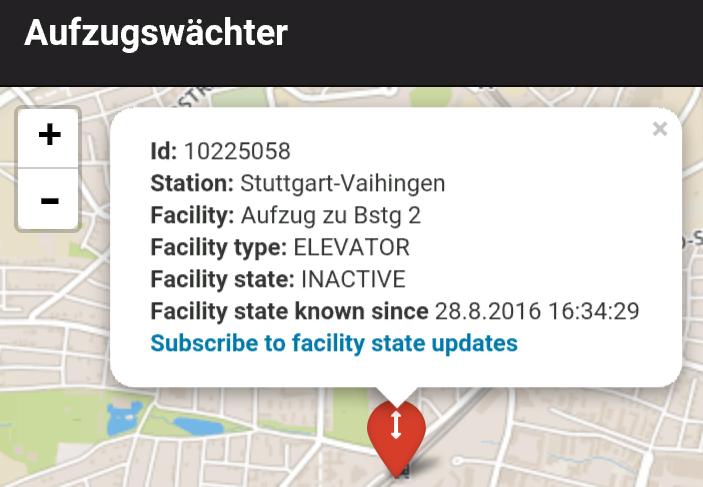 """Der Aufzugswächter meldet den Aufzug """"außer Betrieb"""""""