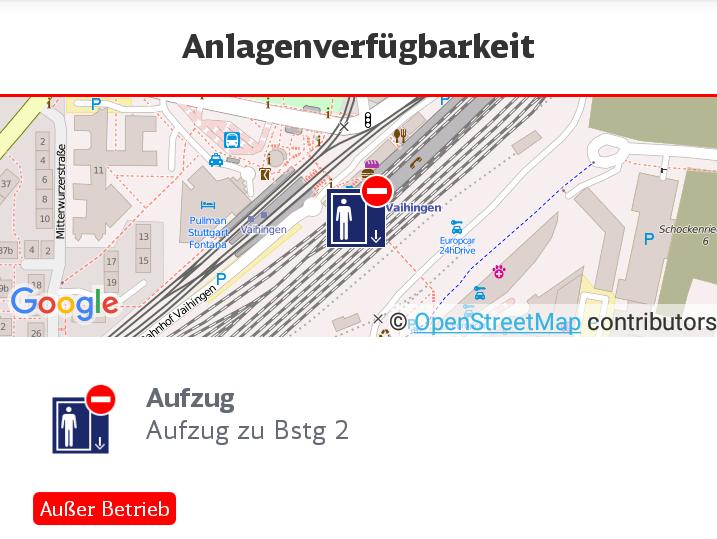 """Ausgefallener Aufzug in Vaihingen in der """"Bahnhof live"""" App der DB"""