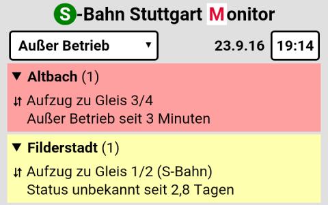 Status von Aufzügen an S-Bahnstationen