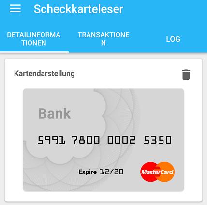 Anzeige der polygoCard pay in der Scheckkarteleser App