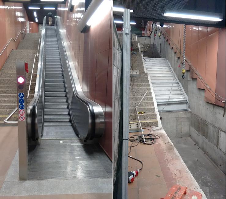 Rolltreppen ein- und ausgebaut