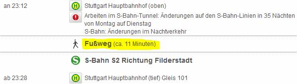 Fußweg von Stuttgart Hbf (oben) nach (tief)