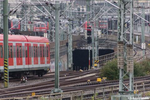 S-Bahn-Einfahrt vom Gleisvorgeld in den Stammtunnel
