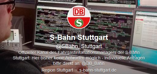 Der Twitter-Account der S-Bahn Stuttgart