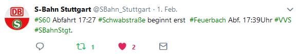 1. Störungsmeldung der S-Bahn Stuttgart per Twitter