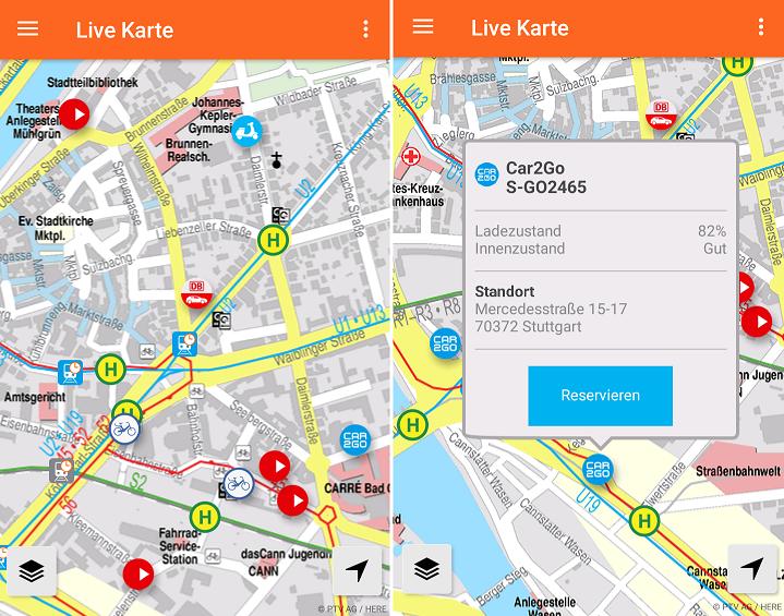 Neue Live Karte in der VVS Mobil App