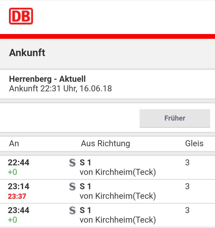 Um 22:31 prognostiziert die Bahn eine um 23 Minuten verspätete Ankunft in Herrenberg
