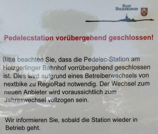 Hinweis der Stadt Holzgerlingen