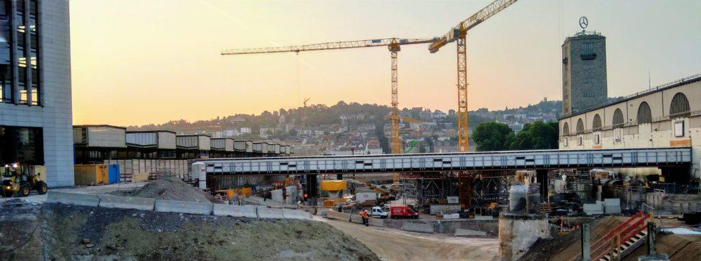 Die Stuttgart 21 Baustelle in der Innenstadt