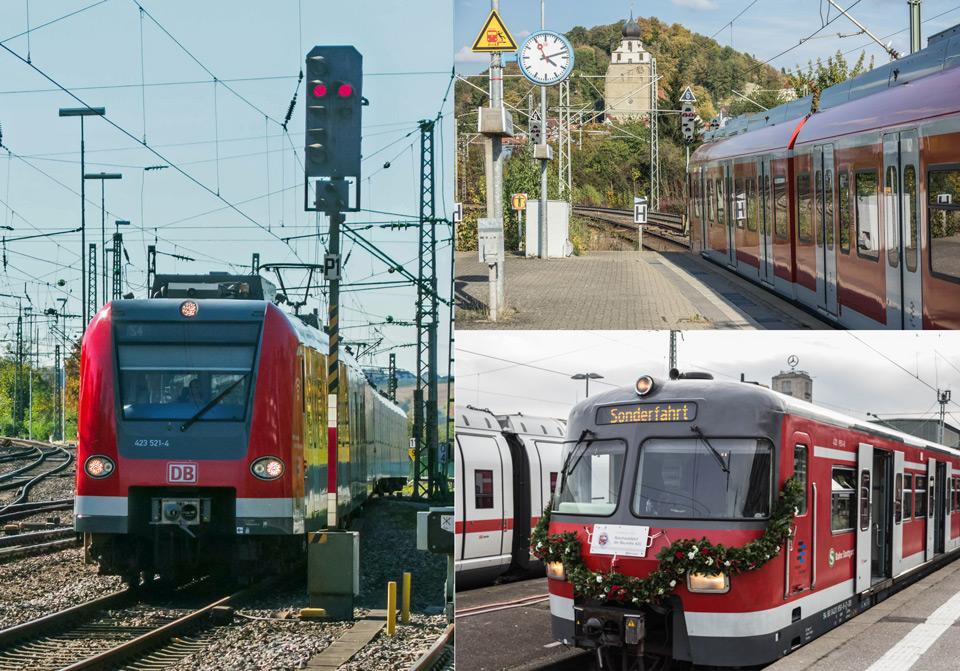 Die zwei bei der S-Bahn Stuttgart fahrenden Triebwägen der Baureihe 423 und 430, sowie ein Zug der BR420 bei der Abschiedsfahrt im November 2016