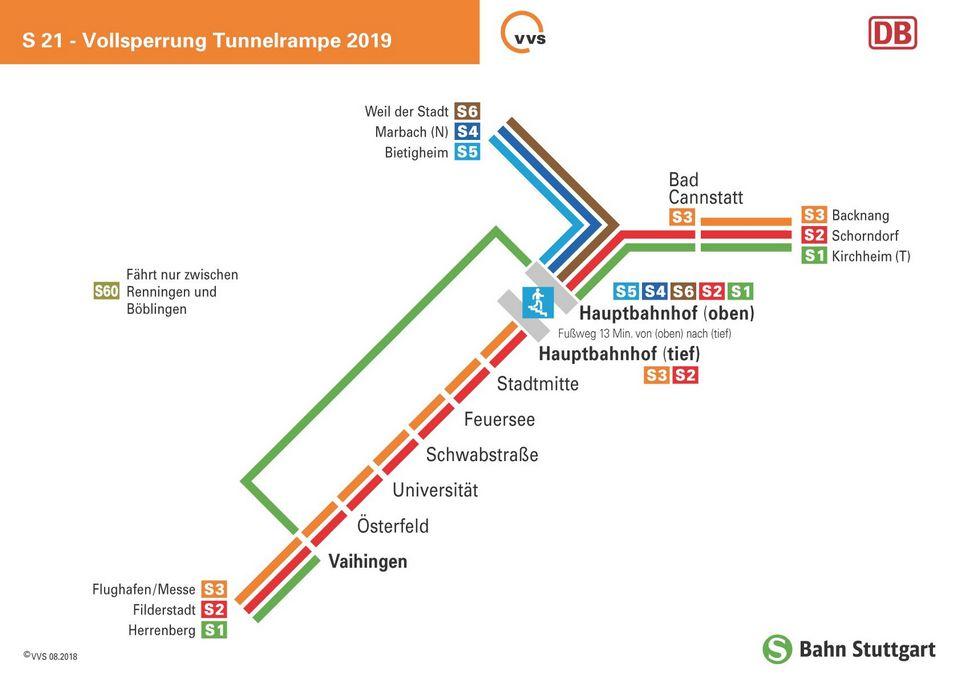 Teil-Linienplan bei Rampenvollsperrung