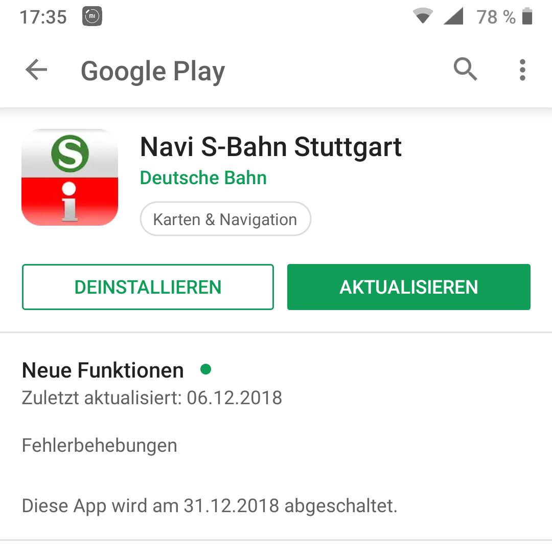 Screenshot der ehemaligen Navi S-Bahn Stuttgart App im Google Play Store mit Hinweis auf Abschaltung