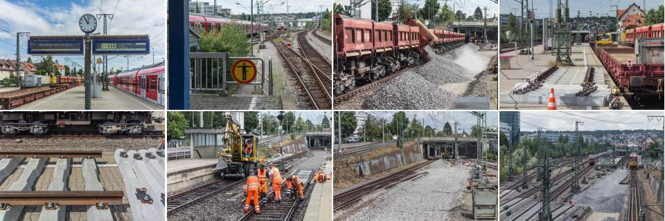 Bildercollage Gleisbauarbeiten Bahnhof Vaihingen