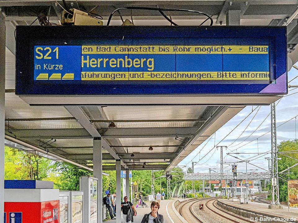 Baustellenlinie S21 in Waiblingen Richtung Stuttgart