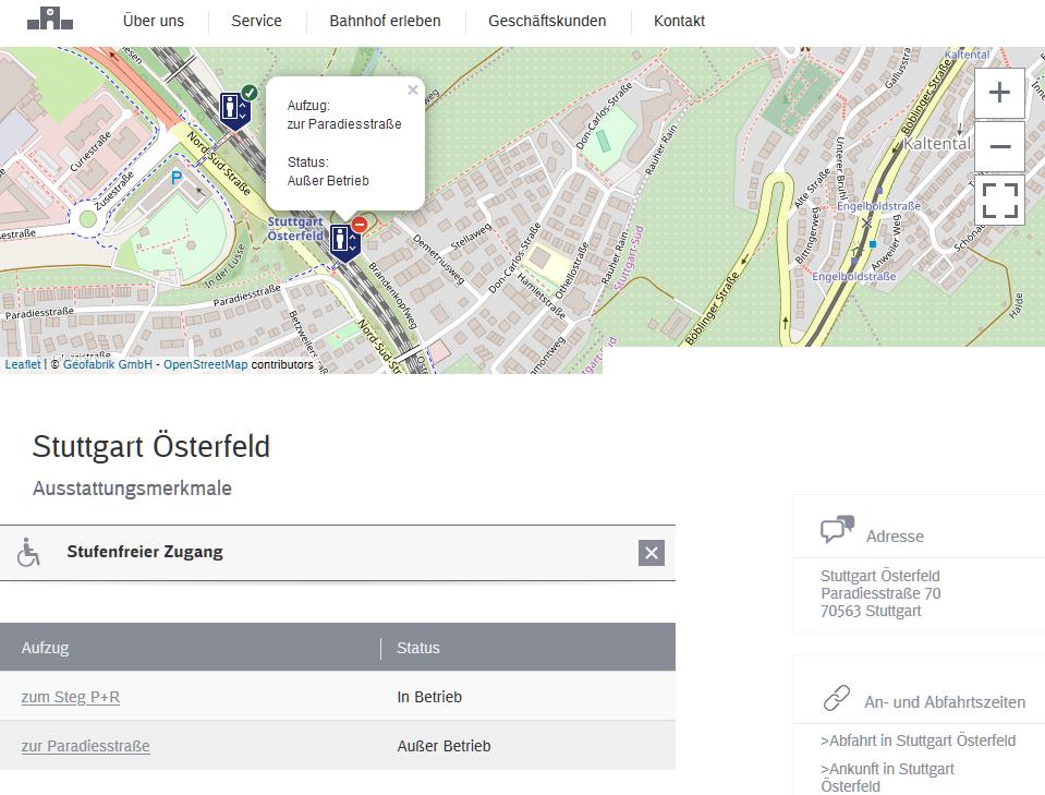 Aufzugstatus Stuttgart Österfeld korrekt angezeigt