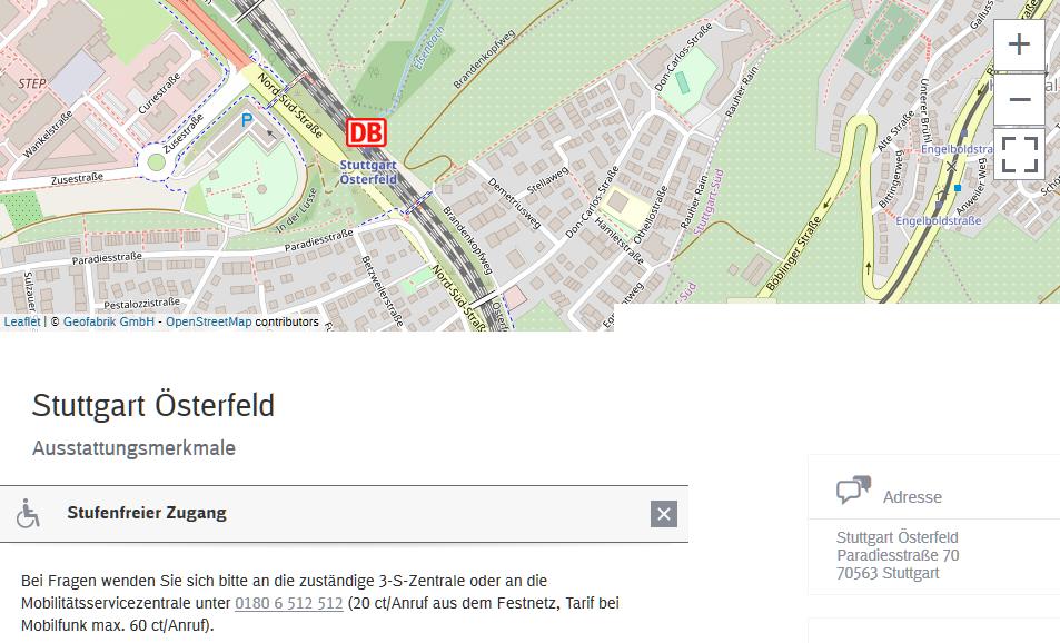 Aufzugstatus Stuttgart Österfeld nicht angezeigt